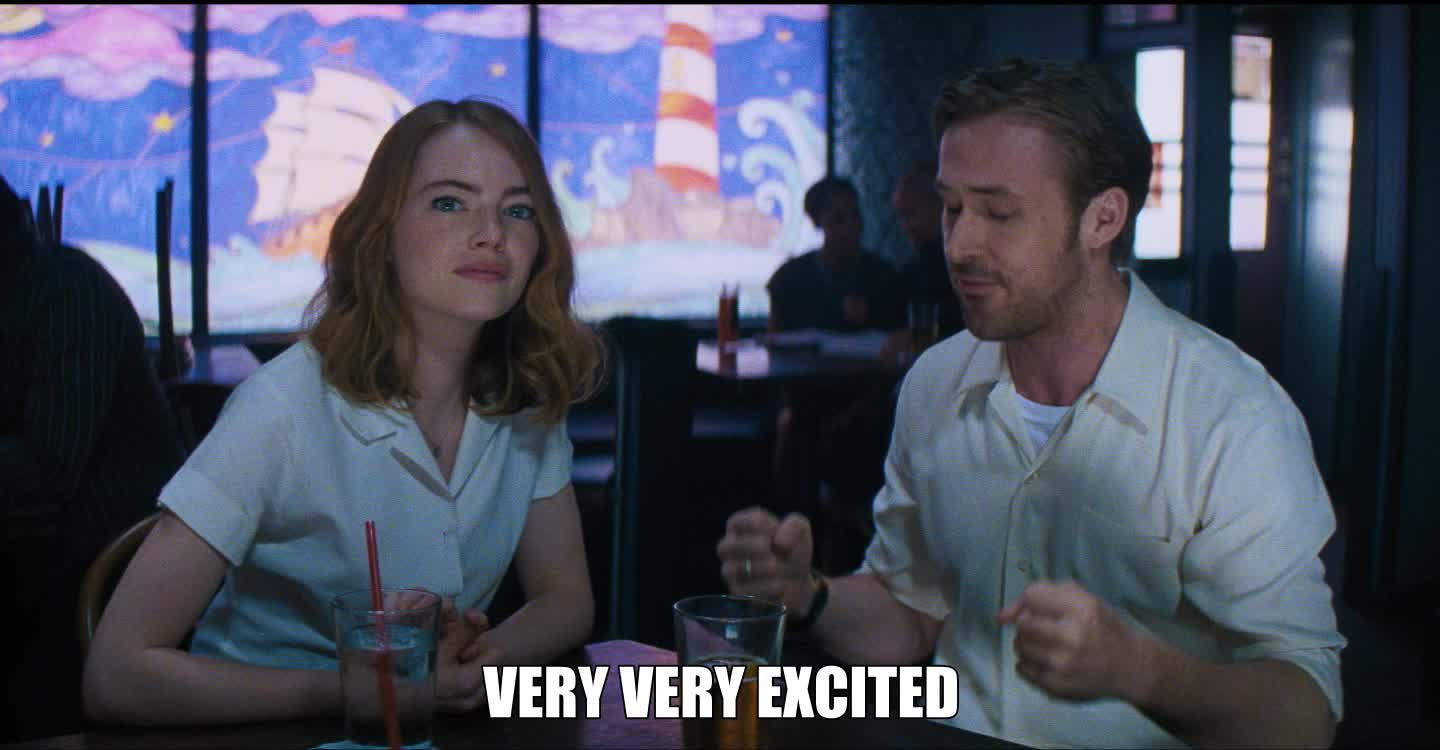 emma stone, la la land, lalaland, lionsgate, movies, ryan gosling, Very very excited - Ryan Gosling GIFs