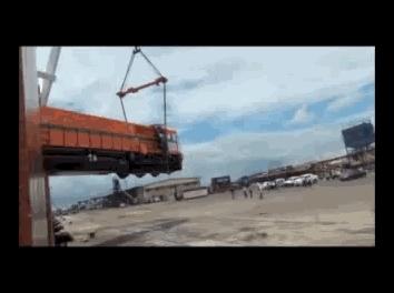 bitchimatrain, traingifs, Locomotive Dropped on Delivery (Stabilized) GIFs