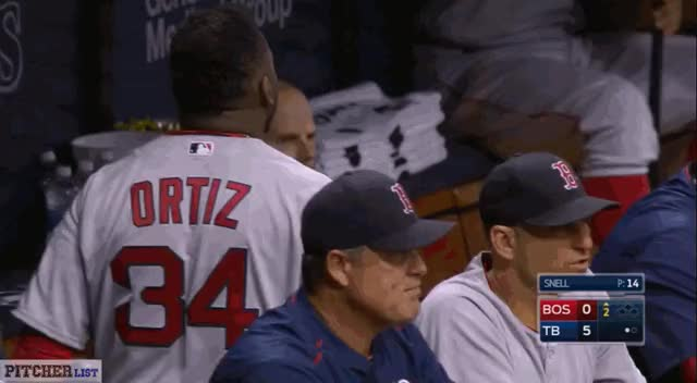 Watch Ortiz showing frustration after grounding out on a Snell slider, startling Pedroia (reddit) GIF by @thedongiggity on Gfycat. Discover more fantasybaseball GIFs on Gfycat