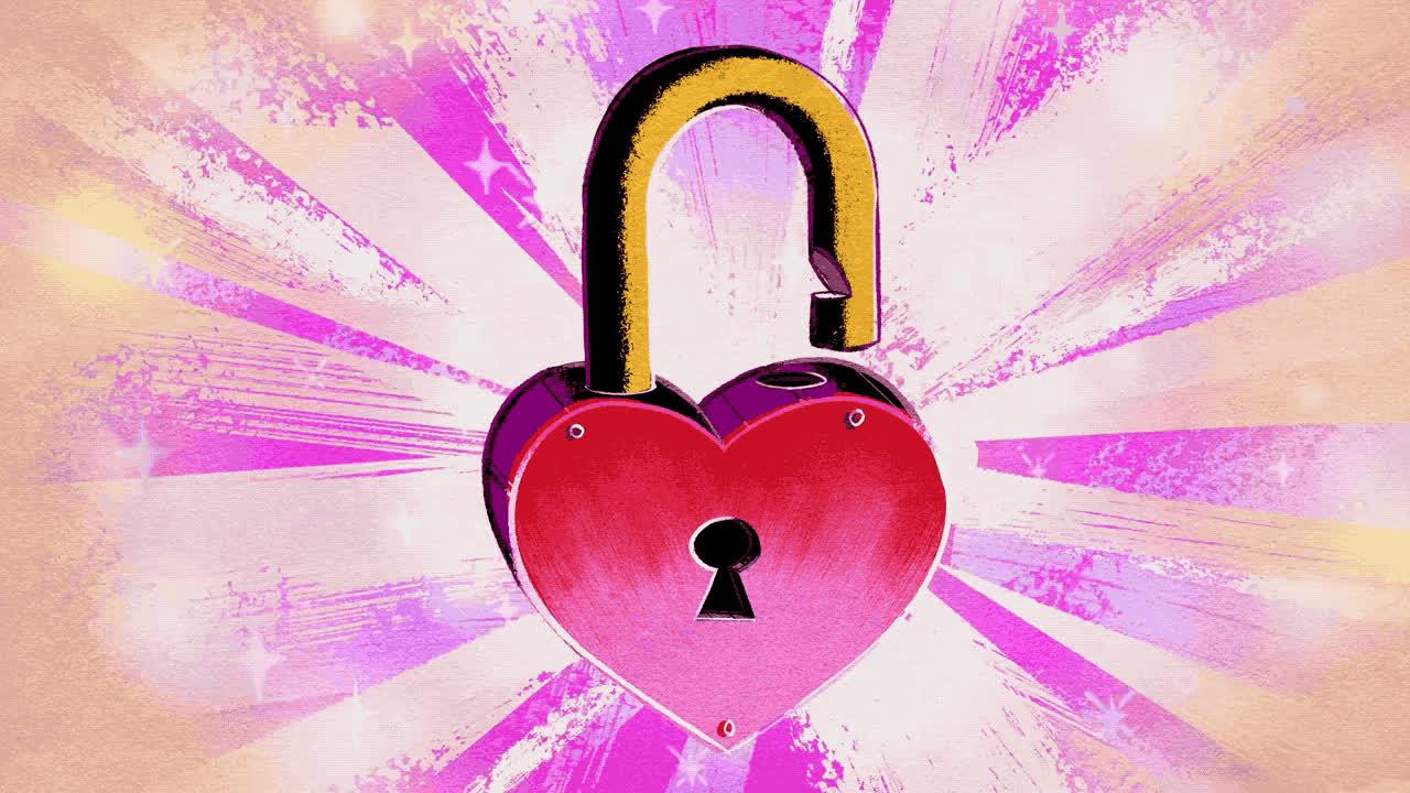 animation, cartoon, hearts, lock, locked in love, mickey mouse, Heart Lock Animation GIFs