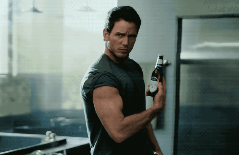 beer, bowl, chris, chris pratt, commercial, fit, macho, michelob, muscles, out, perfect, pratt, sexy, strong, super, tough, ultra, work, work out, The perfect fit ft Chris Pratt - Michelob ultra super bowl GIFs