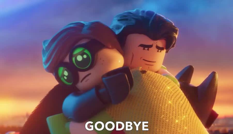 Bye, GOODBYE, adios, batman, family, hug, lego, sad, see, soon, you, Batman Says Goodbye to his Family GIFs