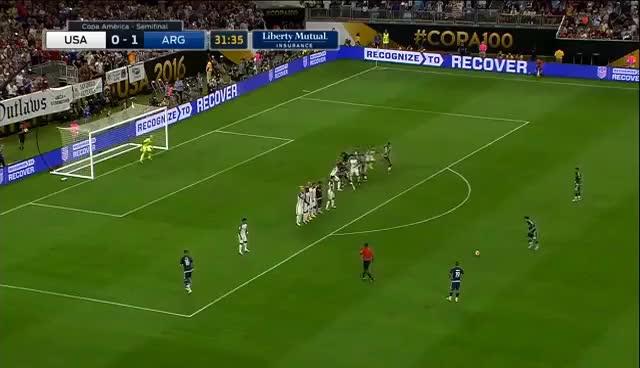 Watch and share Messi Free Kick Vs USA GIFs on Gfycat