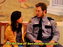 Watch this parks and rec GIF on Gfycat. Discover more Chris Pratt, andy dwyer, ann perkins, april ludgate, ben wyatt, burt macklin, chris pratt, chris traeger, donna meagle, gif request meme, leslie knope, my gif, my stuff, parks and rec, parks and recreation, parksgif, ron swanson, tom haverford GIFs on Gfycat