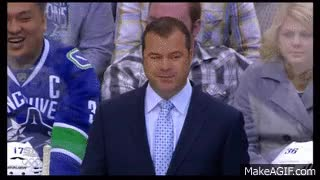 """Watch and share Vigneault And Bieska Have A Belly Laugh - Vernon Fiddler's Bieksa """"angry Face"""" Impression GIFs on Gfycat"""