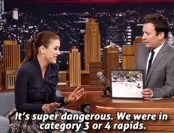 jimmy fallon, kate walsh, my gifs, Kate Walsh Was Tossed from a Boat while Whitewater Rafting