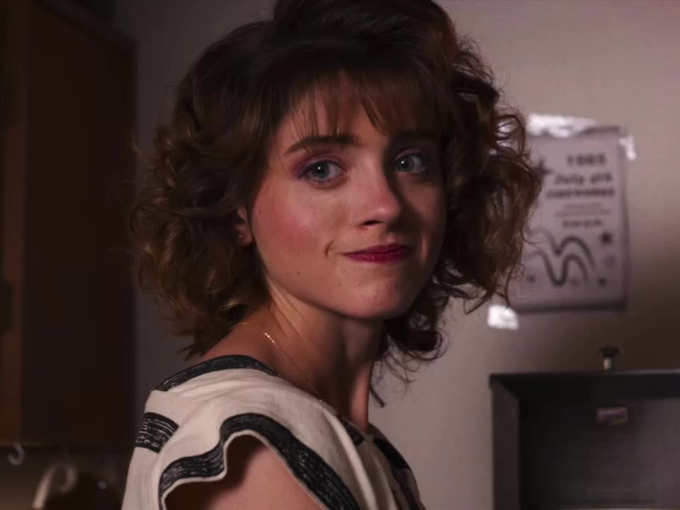 annoyed, fake, forced, natalia dyer, sarcastic, smile, strained, stranger things, sure whatever, whatever you say, Stranger Things - fake smile annoyed GIFs