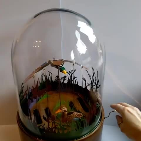 Watch A new piece for @craftedbyhandevents is nearly complete. . GIF by PM_ME_STEAM_K3YS (@pmmesteamk3ys) on Gfycat. Discover more automata, belljar, craftedbyhand, ducks, flying, handcrafted, handcut, kineticpaperart, kineticsculpture, lucy jean green, miniature, ornithology, paperart, papersculpture GIFs on Gfycat