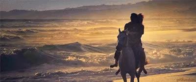 Watch and share Couple A Cheval, Galoper Sur La Plage, Mer, Romantique GIFs on Gfycat