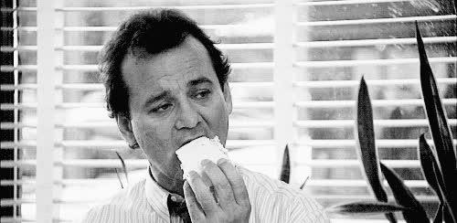 bill murray, eating, hungry, Bill Murray GIFs