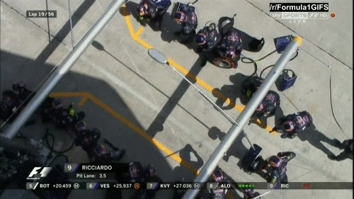 formula1gifs, Ricciardo's pit stop from above - Malaysia 2015 (reddit) GIFs