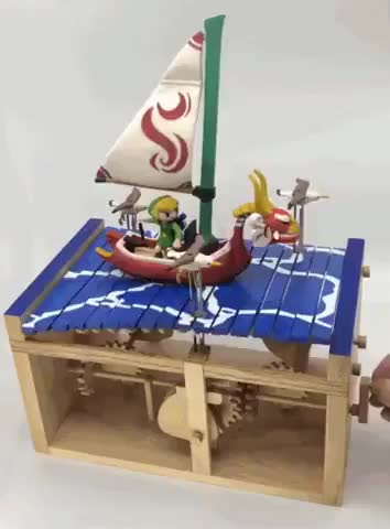 Watch and share Gorgeous Mechanical Wooden Zelda Sculpture GIFs by tothetenthpower on Gfycat