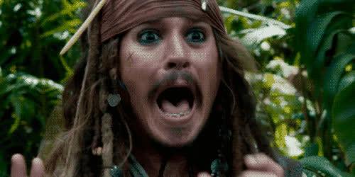 carribean, depp, god, johnny, johnny depp, my, oh, omg, pirates, scared, scream, yell, Johnny Depp - OMG GIFs