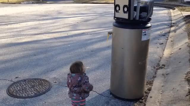 Watch Adorable little girl mistakes broken water heater for a robot GIF by HoodieDog (@testycase) on Gfycat. Discover more related GIFs on Gfycat