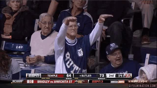 Watch and share Rs Old Butler Fan With Team Spirit College Basketball Fan Gifs GIFs on Gfycat