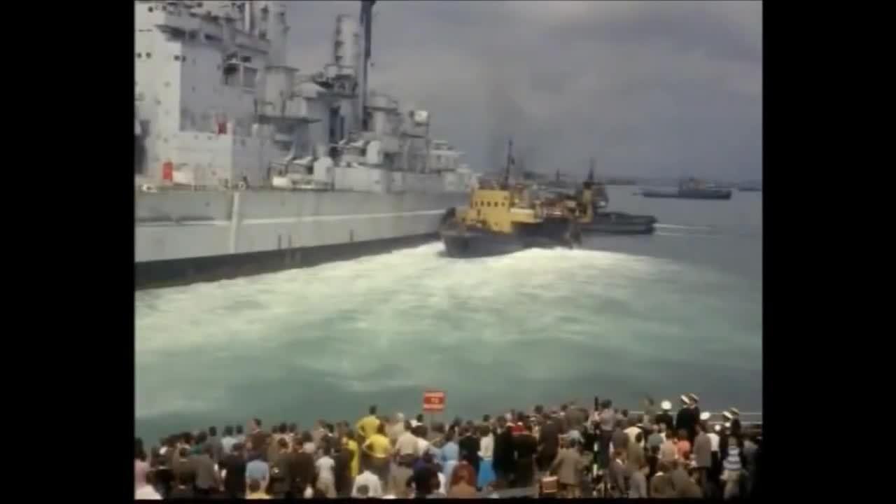 warshipgfys, HMS Vanguard run aground on way to breakers 1960 (reddit) GIFs