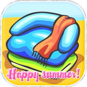 Watch and share Happy Summer Beach Towels Graphic animated stickers on Gfycat