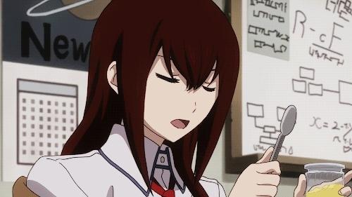 anime, best, gif, makise kurisu, spoon, steins;gate, tsundere, No me canso de verlo GIFs