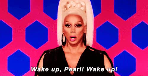 coffee, rupaul, sleepy, tired, wake, wake up, Wake up GIFs