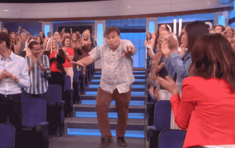 amazing, awesome, black, ellen, excited, exciting, great, happy, jack, party, partying, show, woohoo, Jack Black is happy GIFs
