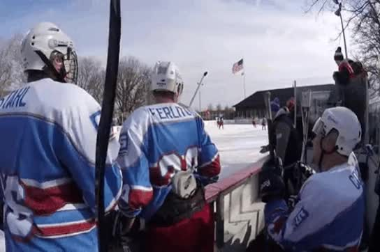 Watch and share Darren McCarty Jumps Into STAHLS' Bench At Frozen Fish Fiasco GIFs on Gfycat