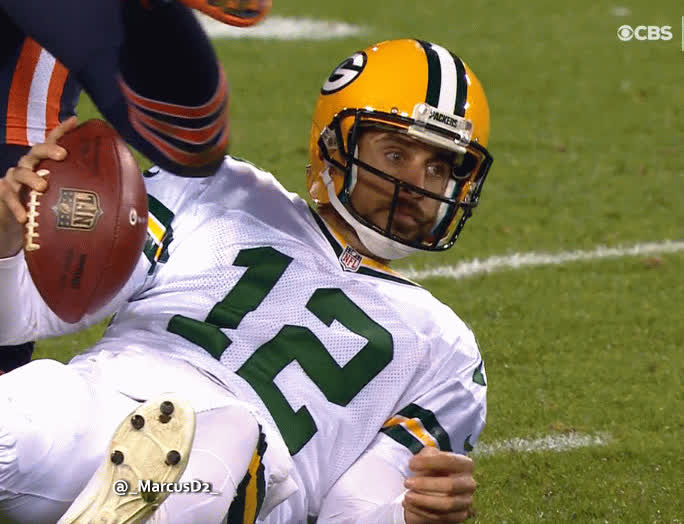 chibears, Aaron Rodgers hit at the end of the sack in the head GIFs