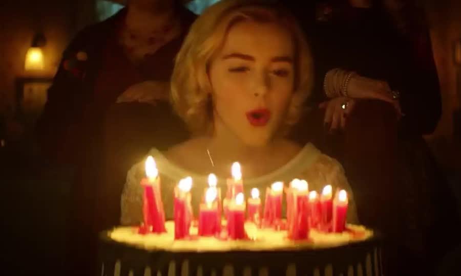 a, adventures, birthday, blow, cake, candles, celebrate, chilling, dessert, food, happy, make, netflix, of, party, sabrina, wish, Chilling Adventures of Sabrina | Teaser: Happy Birthday [HD] | Netflix GIFs