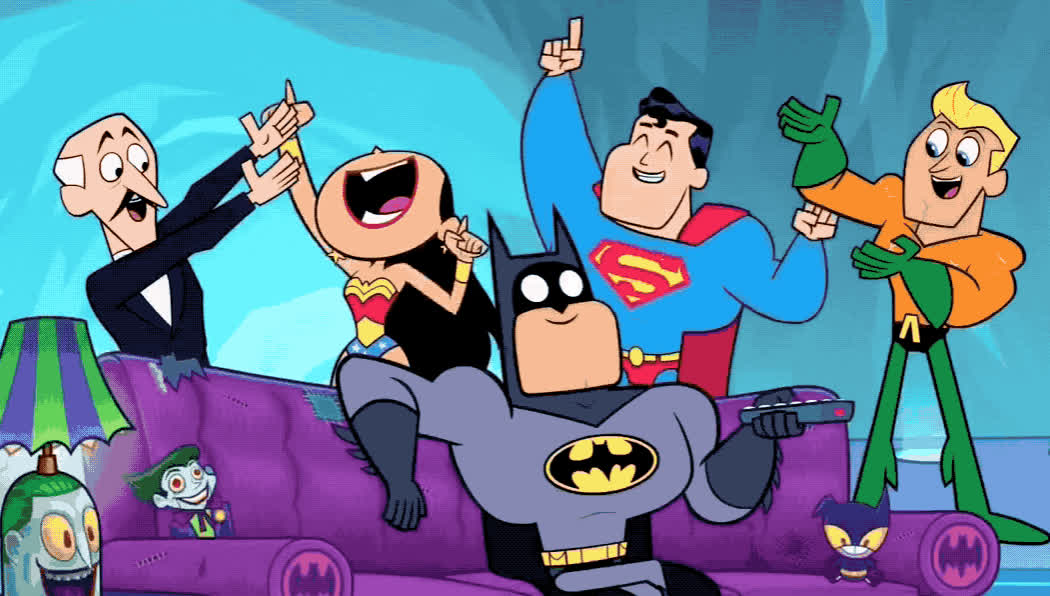 awesome, batman, cartoon, celebrate, epic, excited, exciting, great, happy, network, party, superhero, superman, tv, watch, woman, wonder, woohoo, yay, yeah, Excited superheroes GIFs