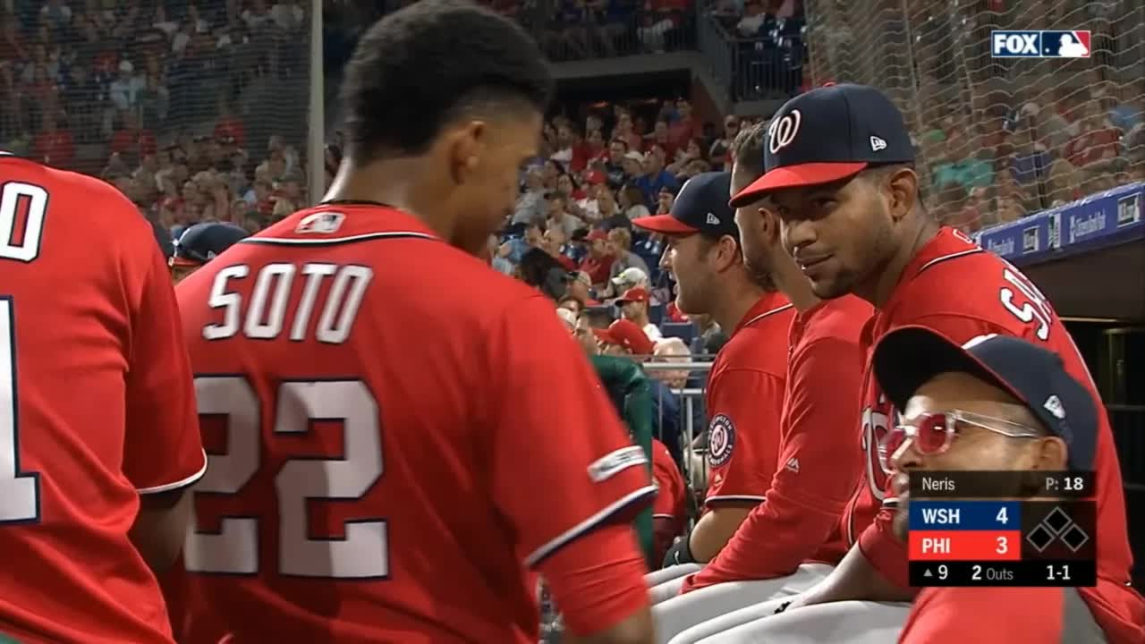 baseball, high five, nationals, philadelphia phillies, reactions, washington nationals, juan soto parra high five GIFs