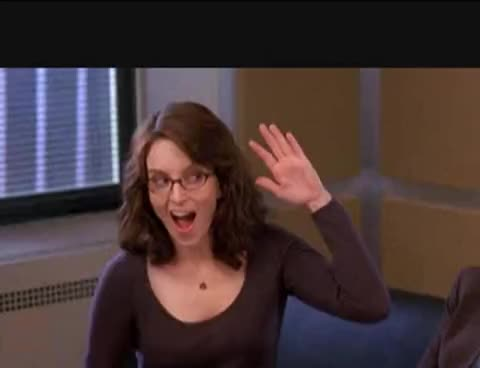 30 rock, high five, tina fey, Tina Fey self-five GIFs