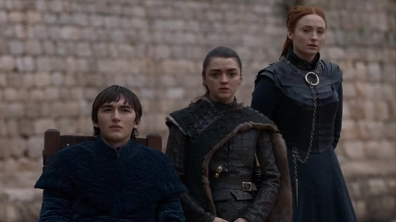 arya stark, bran stark, game of thrones, isaac hempstead wright, maisie williams, sansa stark, season 8, sophie turner, three eyed raven, Stark Family Goodbye Game of Thrones GIFs