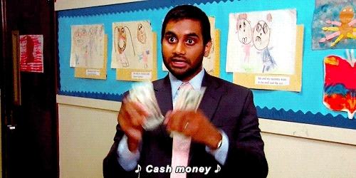 aziz ansari, cash, dollars, money, mula, Money GIFs