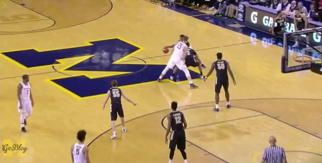 Watch WagnerThree GIF by MGoBlog (@mgoblog) on Gfycat. Discover more 2016-17, Basketball, Derrick Walton, Michigan, Moritz Wagner, Purdue GIFs on Gfycat