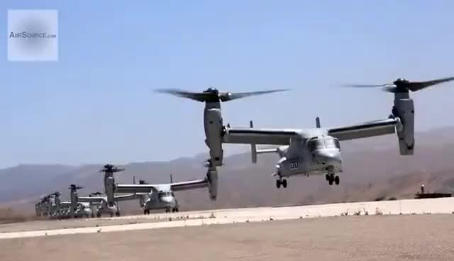 Watch and share Group Of MV-22 Osprey And CH-53E Super Stallion Takeoff GIFs on Gfycat