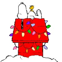 Watch and share Snoopy And Woodstock On Doghouse - Lights Flashing animated stickers on Gfycat