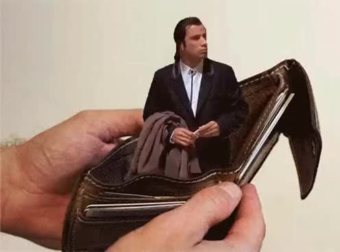 Money, Pay, Payday, empty, john travolta, wallet, Empty wallet John Travolta GIFs
