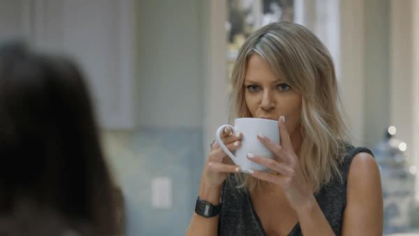 annoyed, coffee, eye roll, kaitlin olsen, tea, the mick, whatever, Kaitlin Olsen Eye Roll GIFs