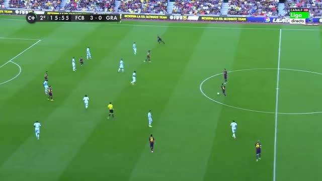 Watch Xavi long pass + Dani Alves cross + Messi goal Vs Granada (H) 2014/15 GIF by FIFPRO Stats (@rahspot) on Gfycat. Discover more 14-15, alves, liga 2015, messi, messi 2014, messi 2015, mn, msn, neymar, xavi GIFs on Gfycat