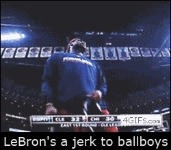 PeopleBeingJerks, peoplebeingjerks, LeBron going out of his way to be a prick to the towelboy (i..com) GIFs