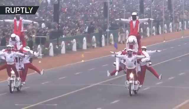Watch and share Motorbike Daredevil Stunts At Republic Day Parade In India GIFs on Gfycat