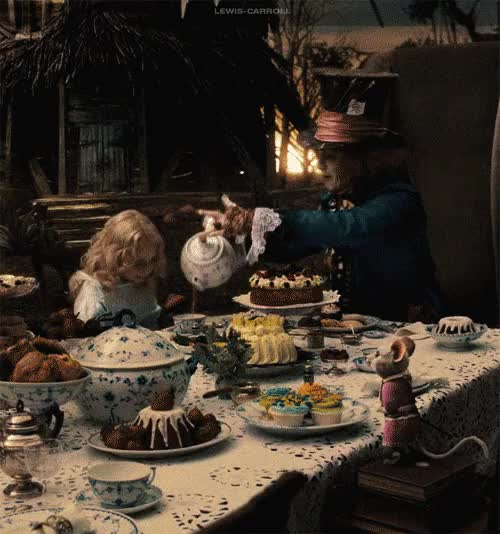 Watch table animated GIF on Gfycat. Discover more alice in wonderland, cakes, cool, crazy, drink, food, johnny depp, little alice, mad hatter, mouse, movie, strange, table, tea, tim burton GIFs on Gfycat