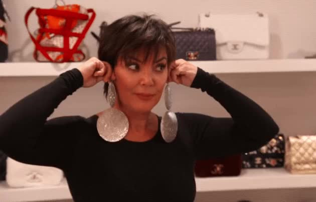 Watch this kris jenner GIF by Reactions (@sannahparker) on Gfycat. Discover more earrings, keeping up with the kardashians, kris jenner, kuwtk, smile, tada GIFs on Gfycat