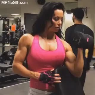 bodybuilder, muscle, muscleworship, Adriana Kuhl curls GIFs