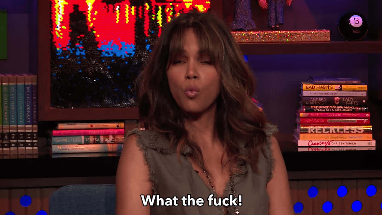 andy cohen, angry, halle berry, watch what happens live, what the fuck, wtf, Halley Berry WTF GIFs