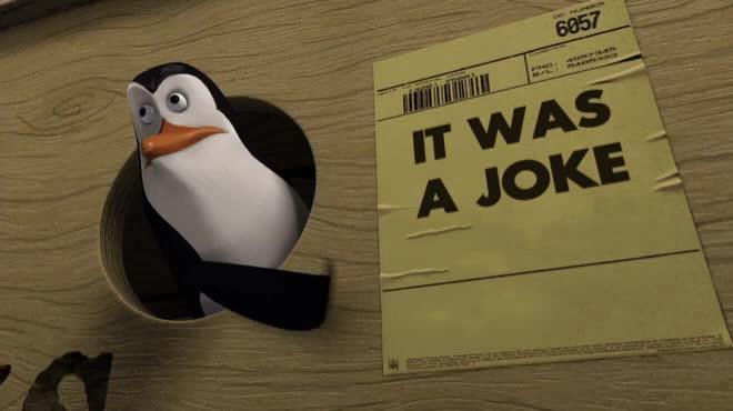 animal, animated, animation, bird, funny, get it, hint, humor, humour, joke, madagascar, penguins, reddit, sarcasm, it was a joke [u/elpinko] GIFs