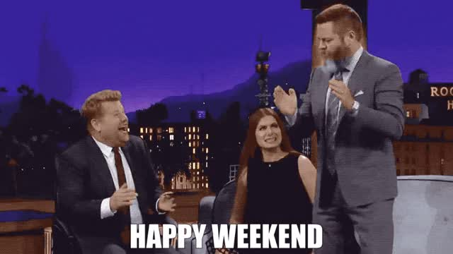Watch this weekend GIF by GIF Queen (@ioanna) on Gfycat. Discover more chill, comes, corden, dance, excited, happy, here, it's, james, nick, offerman, party, plans, saturday, sunday, vibes, weekend, yay, yeah GIFs on Gfycat