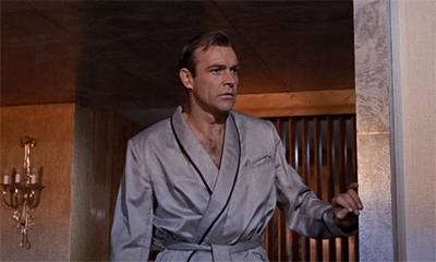 007, 1964, film, gif, goldfinger, james bond, jill masterson, sean connery, shirley eaton, Sean connery GIFs
