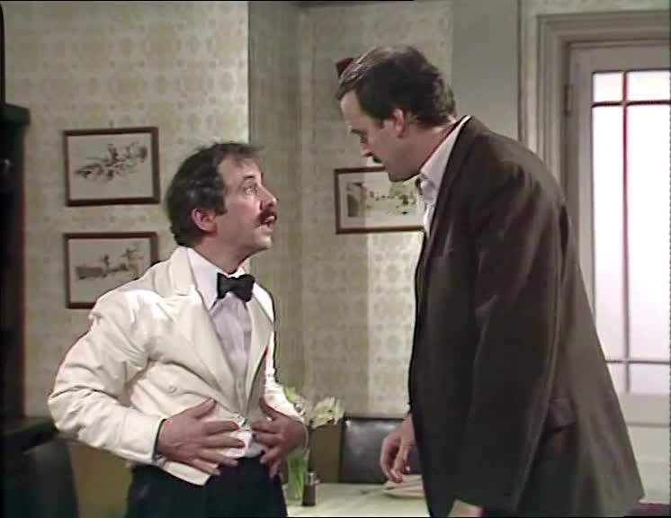 basil fawlty, fawlty towers, john cleese, punish, punishing, punishment, Fawlty Towers S02E04 - Basil pokes manuel in the eye GIFs
