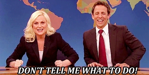 amy poehler, saturday night live, seth meyers, snl, Amy Poehler Don tell me what to do GIFs