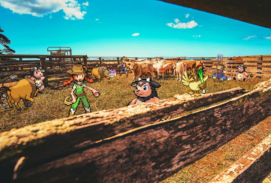 farfetch'd, gif, johto, miltank, moomoo farm, pokemon, pokemon background, pokemon background gif, pokemon in real life, pokemon in real life gif, pokemon irl, pokemon irl gif, pokemon sprite, pokemon sprite gif, sprite, tauros, Pokemon - MooMoo Farm GIFs